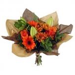 Bouquet cover Square kraft+non-woven Ø32cm brown