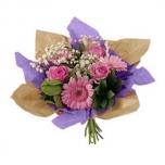 Bouquet cover Square kraft+non-woven Ø32cm violet