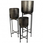 Planter Metal Black 30x29cm / 91cm