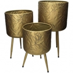 Planter Leaf Metal Gold M