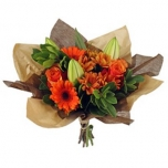 Bouquet cover Square kraft+non-woven Ø32cm brown