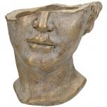 Planter Face Concrete Gold 20x19.5x19cm