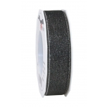 GLITTER SATIN black/silver 20-m-roll 25 mm