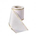 Matusepael - Prägemoire-100mm-weiß - Strichrand I gold