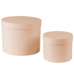 Hatbox round D.15xH.12cm/D.22xH.17cm peach KOMPLEKT 2TK