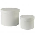 Hatbox round D.15xH.12cm/D.22xH.17cm light grey KOMPLEKT 2TK