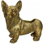 Planter Dog Polyresin Gold 26.7x15.5x24cm