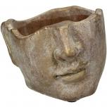 Planter Face Concrete Gold 16.5x15x11.5cm